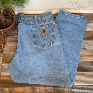 Carhartt Relaxed Fit Mens Blue Denim Jeans 44x29